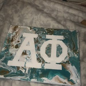 Alpha phi marble painted canvas